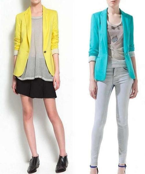 yellow cotton blazer with gray chiffon top and black mini skirt