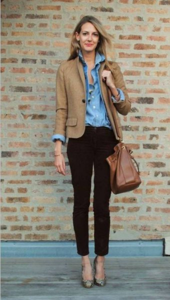brown cotton jacket with chambray blue shirt and ankle chinos