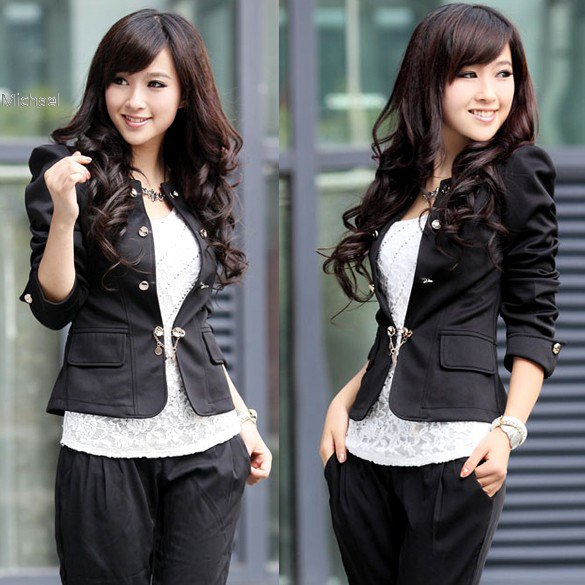 black fitted cotton blazer with lace top and casual fit pants