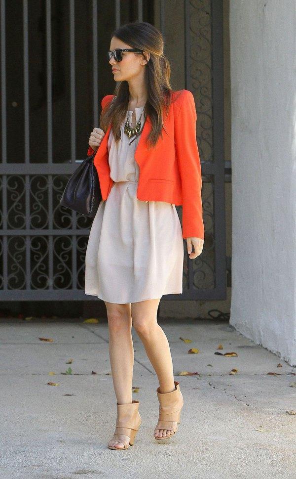 best orange cotton jacket with pale pink waist dress at the waist