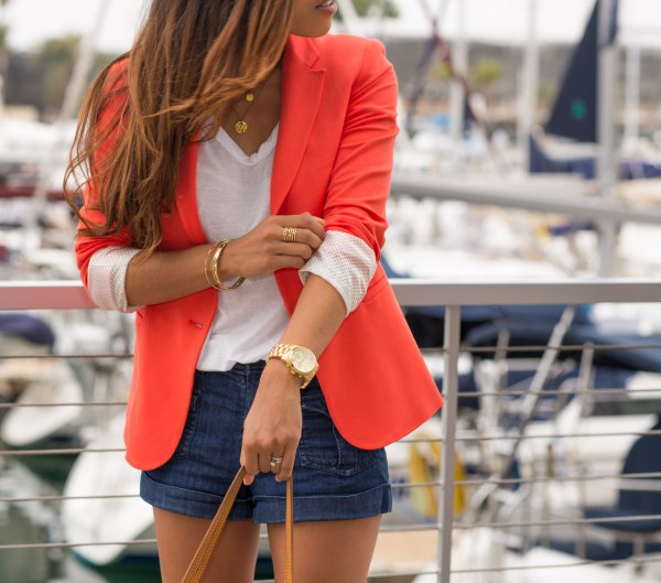 best orange fitted blazer with white v-neck tee and navy blue mini shorts