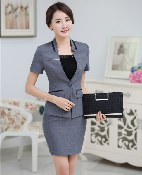 gray short sleeve blazer with matching pencil skirt
