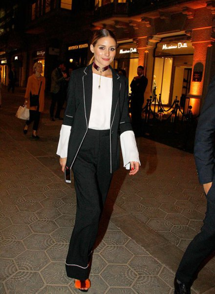 black half-warm blazer with white blouse and wide leg trousers