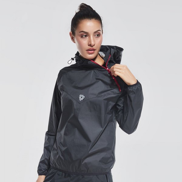 black hooded nylon sports skirt with matching running pants