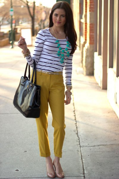 black and white striped long sleeve tee with mustard cropped pants