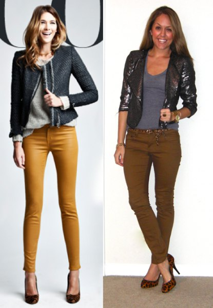 black blazer with gray sweater and skinny mustard pants