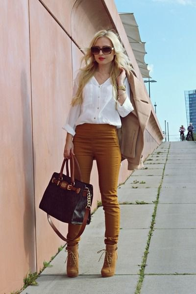 white button up shirt with dark yellow skinny pants