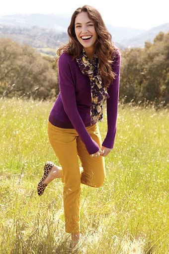 purple slim sweater with ankle pants and leopard print flats