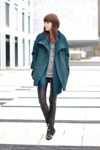 gray cocoon coat with blue long-sleeved shirt and leather clothes