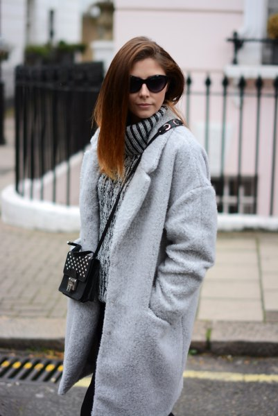light gray oversized cocoon coat with ribbed chunky sweater