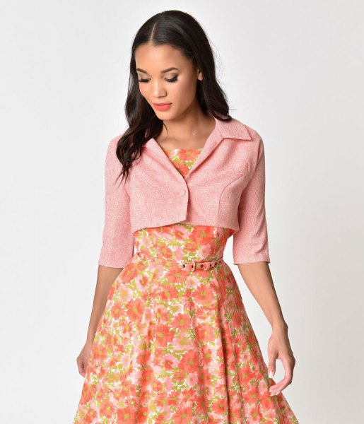 light pink cropped short-sleeved jacket with blush floral printed midi blouse dress