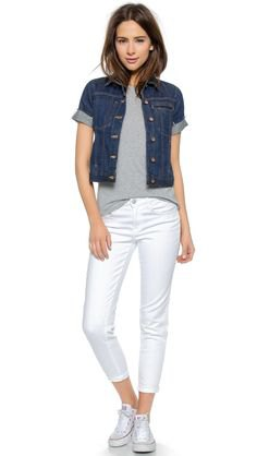 blue short-sleeved cuffed denim jacket with white cropped jeans