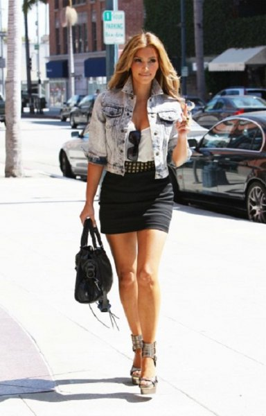 blue washed denim short sleeve jacket with black mini skirt
