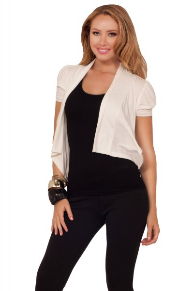 white chiffon jacket with short sleeve with black tank cap