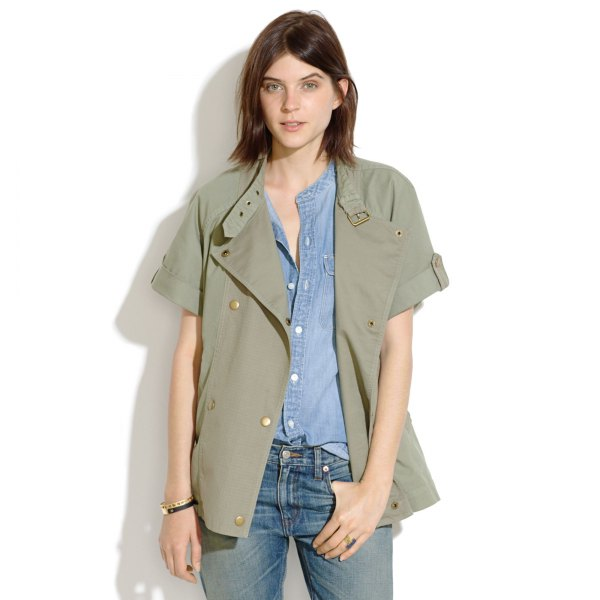 green short-sleeved casual military jacket with chambray shirt