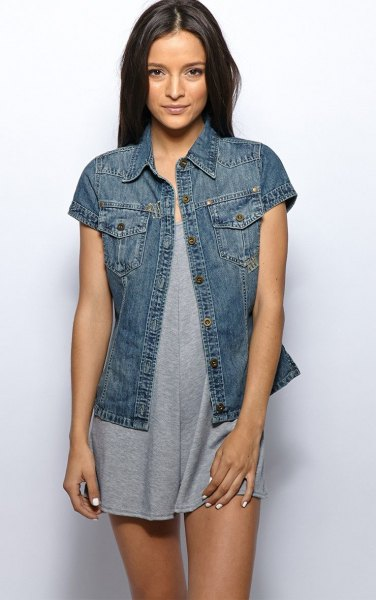 dark blue short-sleeved denim jacket with gray mini dress