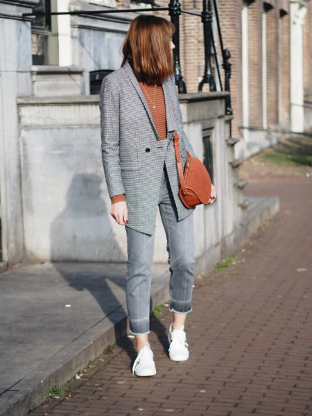 gray checkered blazer with jeans and green sweater
