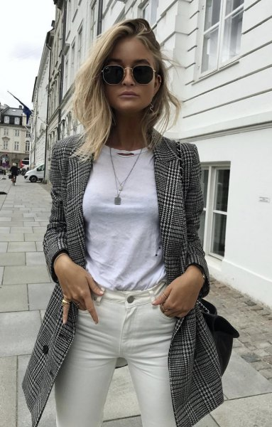 gray and black longline check blazer with white tee and ivory jeans