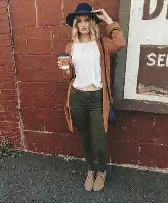 white knit tee with green cardigan and olive pants