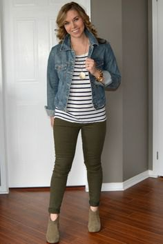 blue denim jacket with striped tee and olive skinny trousers