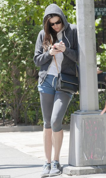 hood cardigan with blue shorts and gray short leggings