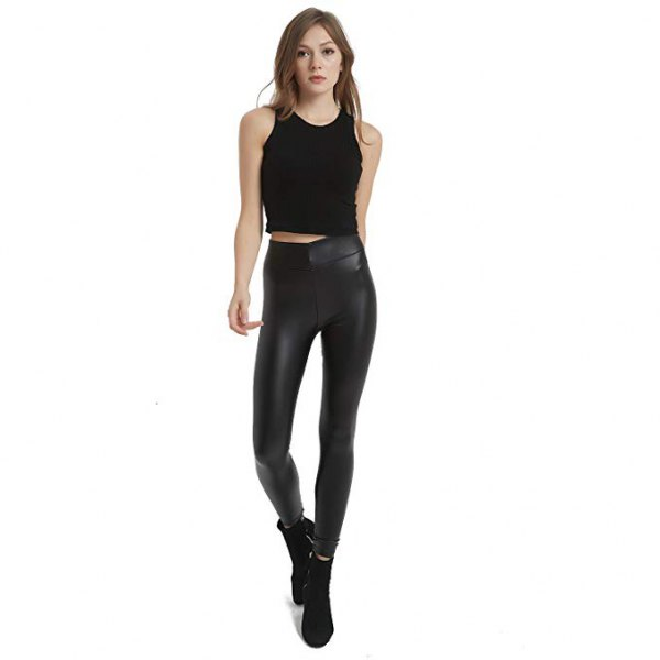 black cropped tank top with high waist leather leggings