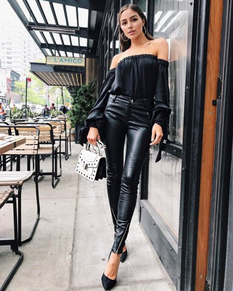 black of the shoulder blouse with high-heeled leather leggings