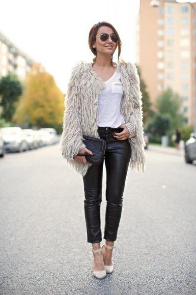 light gray faux fur jacket with black leather waist in high waist