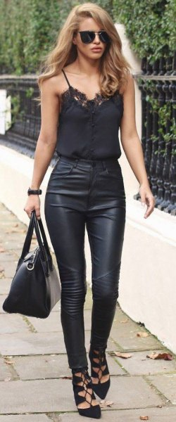 black tights with high waisted leather trousers