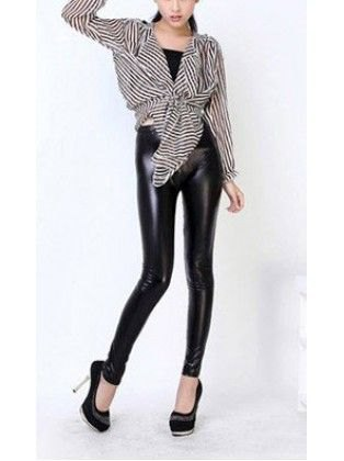 black and white striped knit blouse with leather clothes and high heels