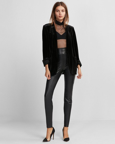 black half top with high leather and blazer raises