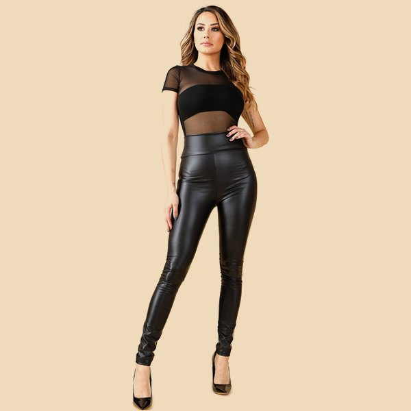 black semi sheer crop top with leather legs and ballet heels