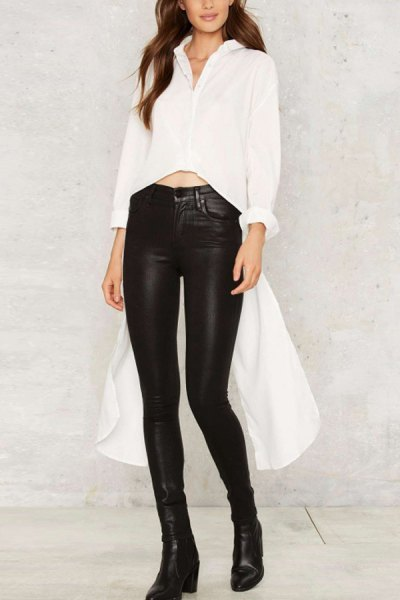 white cropped high low blouse with black leather waist with high waist