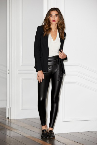 black blazer with white blouse and oxford shoes