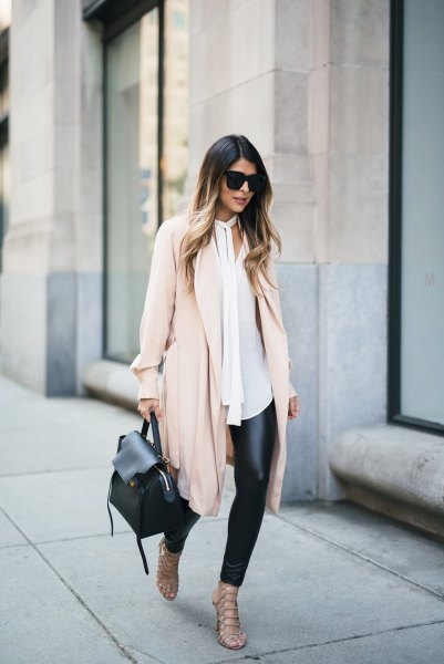 long-line pale pink chiffon jacket with black plaid legs