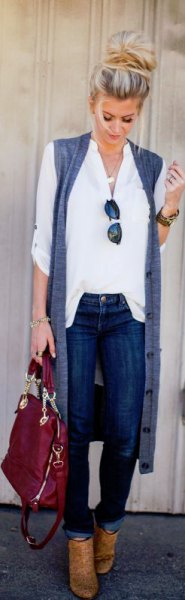 white button up shirt with long sleeved cardigan and brown boots