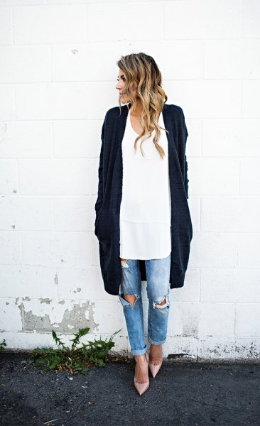 white long spoon blouse with long blue deep blue cardigan