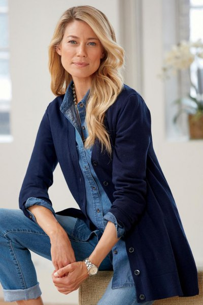 chambray button up shirt with long line cardigan