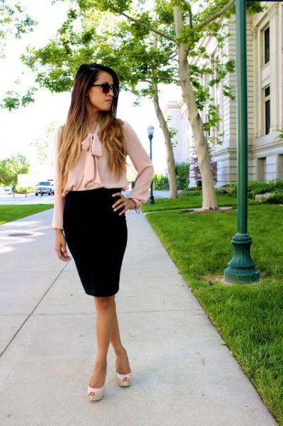 pink band chiffon blouse with black pencil skirt