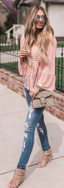 blush puff sleeve crochet blouse with ripped jeans and buttoned heels
