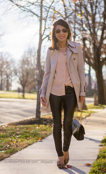 rouge shirt with pink trench coat and leather leggings