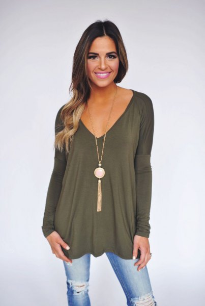 green v-neck long sleeve tunic top with boho style necklace