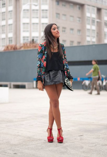 black floral printed blazer with mini leather skirt