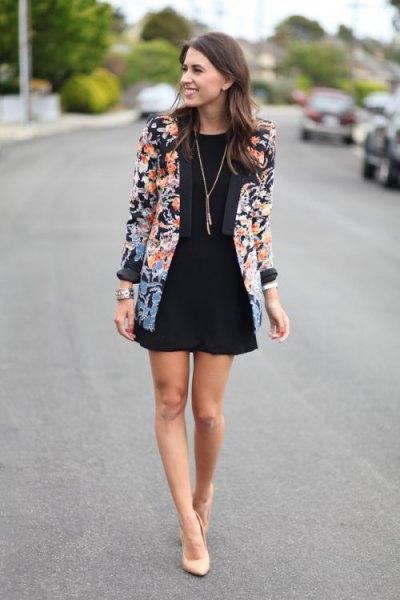 floral printed blazer with black mini skater dress