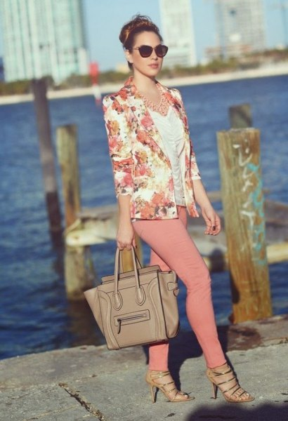 pink pink jacket with white ruched top and crepe skinny jeans