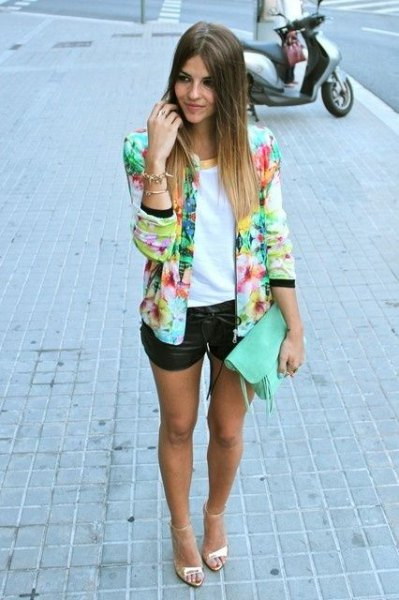 multicolor blazer with white top and black mini leather shorts