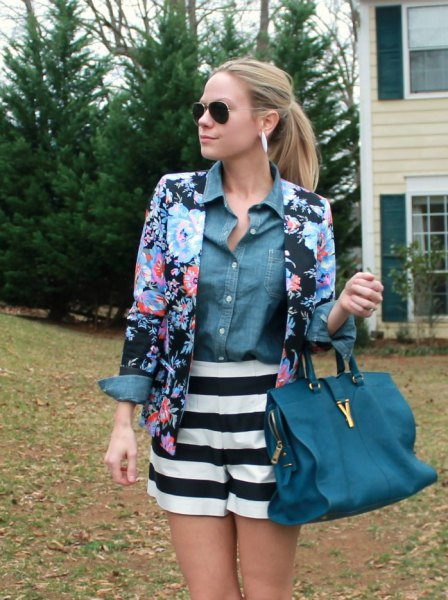 blue and black floral blazer with chambray shirt and striped flowing shorts