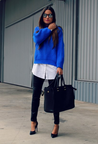 rib knitted blue sweater over long white white shirt