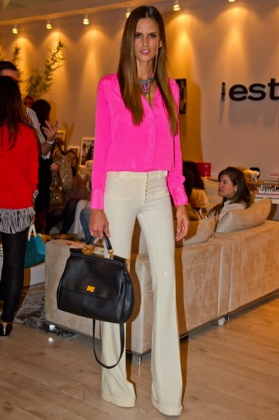 pink chiffon button blouse with light yellow blown pants