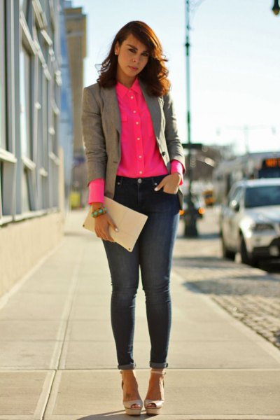 blush pink pink up shirt with gray blazer and ankle jeans